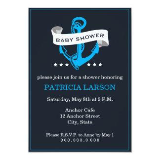 Navy Blue Anchor Baby Shower Invitation