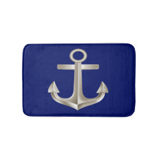 Navy Blue Anchor Bathmat Bath Mats