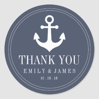 Navy Blue Anchor By The Sea Wedding Favor Classic Round Sticker