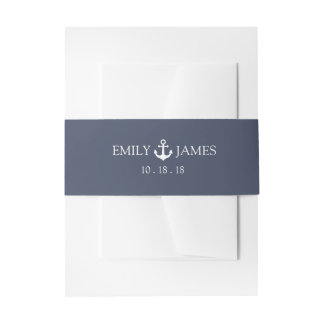 Navy Blue Anchor By The Sea Wedding Invitation Belly Band