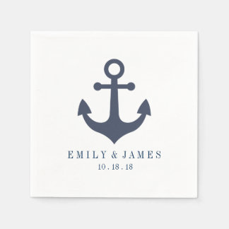 Navy Blue Anchor By The Sea Wedding Paper Napkins