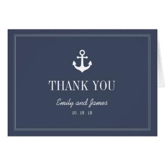 Navy Blue Anchor By The Sea Wedding Thank You Card