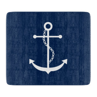 Navy Blue Anchor Cutting Board