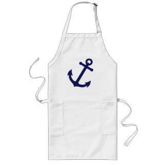 Navy Blue Anchor Long Apron