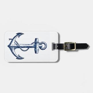 Navy Blue Anchor Luggage Tag