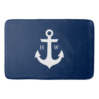 Navy Blue Anchor Monogram Bath Mat