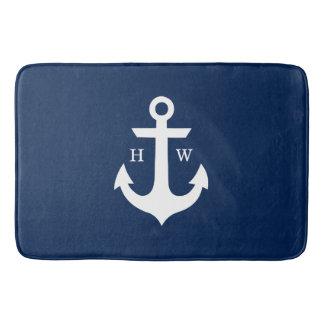 Navy Blue Anchor Monogram Bath Mats