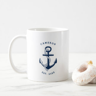 Navy Blue Anchor Nautical Personalized Mug