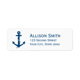 Navy Blue Anchor Nautical Return Address Labels