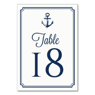 Navy Blue Anchor Nautical Table Numbers Card