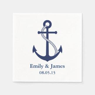 Navy Blue Anchor Nautical Wedding Disposable Serviettes