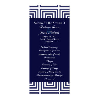 Navy Blue anchor nautical wedding programs Rack Card