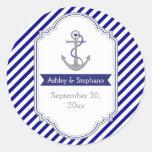Navy blue anchor nautical wedding Save the Date Round Sticker