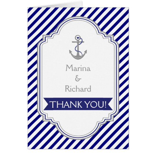 Navy blue anchor nautical wedding Thank You Card