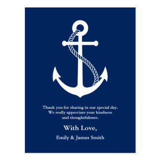 Navy Blue Anchor Nautical Wedding Thank You Postcard