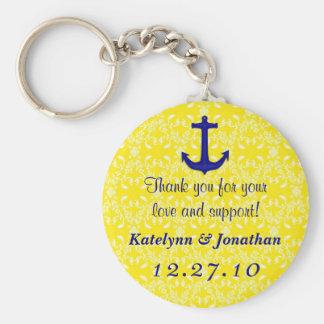Navy Blue Anchor on Yellow Wedding Favor Key Ring Basic Round Button Key Ring