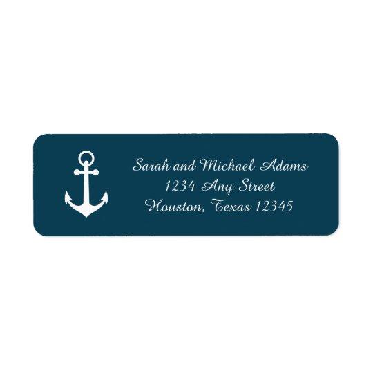 Navy Blue Anchor Return Address Label