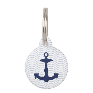 Navy Blue Anchor Silhouette And Custom Info Pet ID Tag
