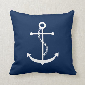 Navy Blue Anchor Throw Cushion