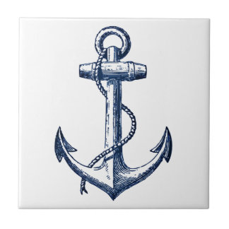 Navy Blue Anchor Tile