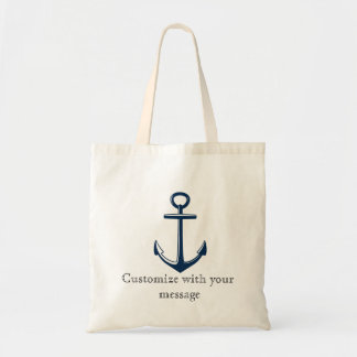 Navy blue anchor tote- Nautical- Customize Tote Bag
