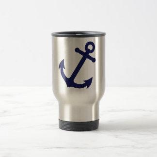 Navy Blue Anchor Travel Mug