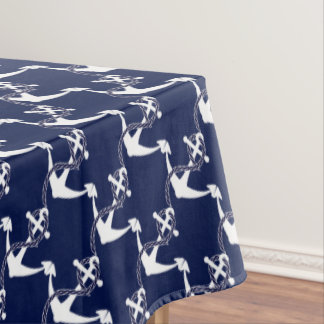 Navy Blue Anchor W/Rope on White Tablecloth