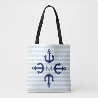 navy blue anchors nautical tote bag