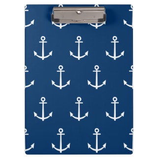 Navy Blue Anchors Pattern 1 Clipboard