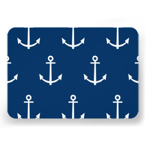 Navy Blue Anchors Pattern 1 Personalized Invitations