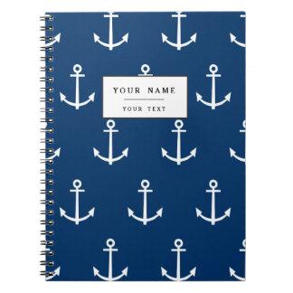 Navy Blue Anchors Pattern 1 Notebook