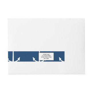 Navy Blue Anchors Pattern 1 Wraparound Address Label