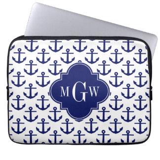 Navy Blue Anchors Wht BG, Navy 3 Initial Monogram Laptop Sleeve