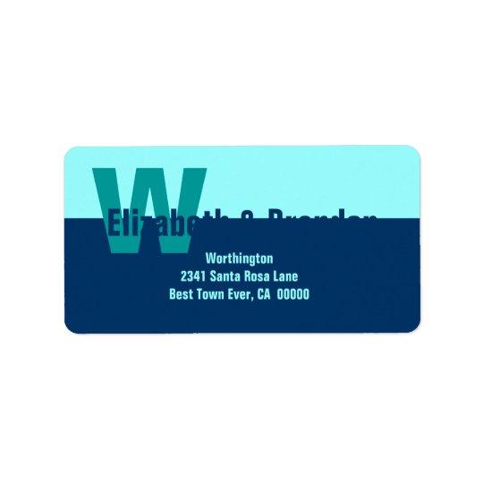 Navy Blue and Aqua Modern Simple Monogram Label
