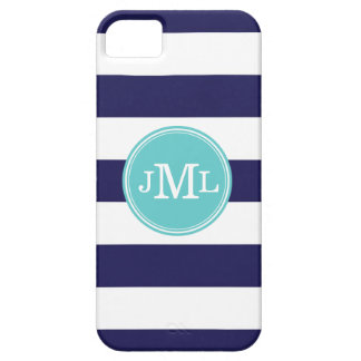 Navy Blue and Aqua Wide Stripe Monogram iPhone 5 Case