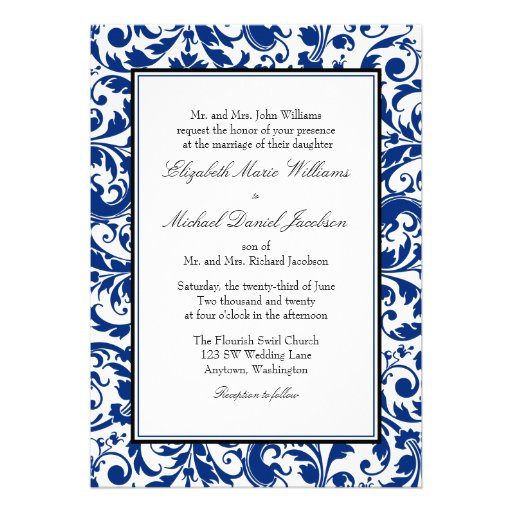 Navy Blue and Black Swirl Damask Wedding Personalized Invite