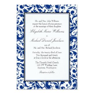 Navy Blue and Black Swirl Damask Wedding 13 Cm X 18 Cm Invitation Card