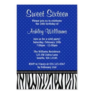 Navy Blue and Black Zebra Polka Dot Sweet 16 Card