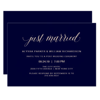 Navy Blue and Blush Pink Typography | Just Married Card