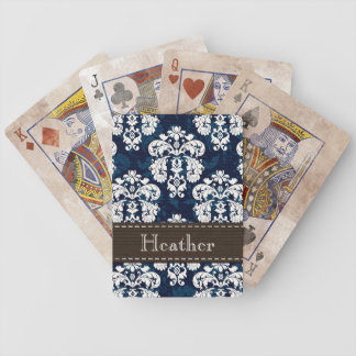 Navy Blue and Brown Damask Bicycle® Playing Cards