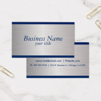 Navy Blue and Brush Silver Steel Design Business Card