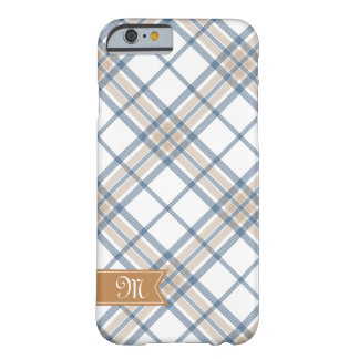 Navy Blue and Caramel Plaid Monogram iPhone 6 Barely There iPhone 6 Case