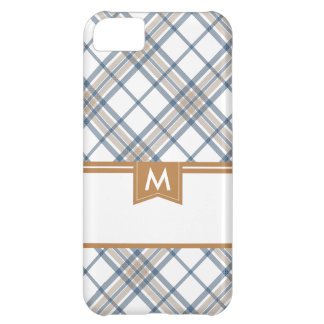 Navy Blue and Caramel Plaid Monogram iPhone iPhone 5C Case