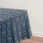 Navy blue and coffee stripe floral pattern tablecloth