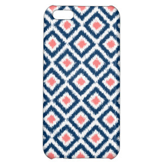 Navy Blue and Coral Diamond Ikat Pattern iPhone 5C Covers