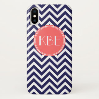 Navy Blue and Coral Modern Chevron Custom Monogram iPhone X Case