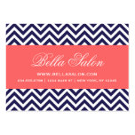 Navy Blue and Coral Modern Chevron Stripes Business Cards