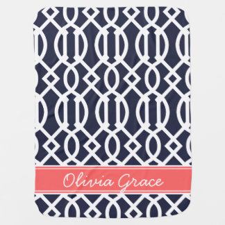 Navy Blue and Coral Modern Trellis Custom Monogram Baby Blanket