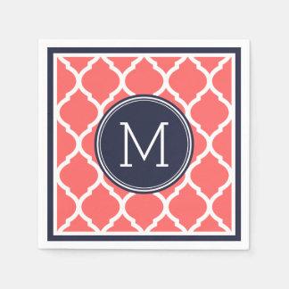 Navy Blue and Coral Quatrefoil Wedding Monogram Paper Napkins
