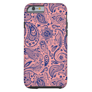 Navy Blue And Coral Red Floral Paisley Pattern Tough iPhone 6 Case
